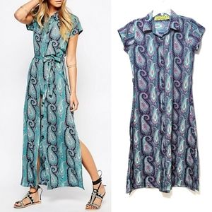 ASOS Liquorish Paisley Maxi Shirt Dress S